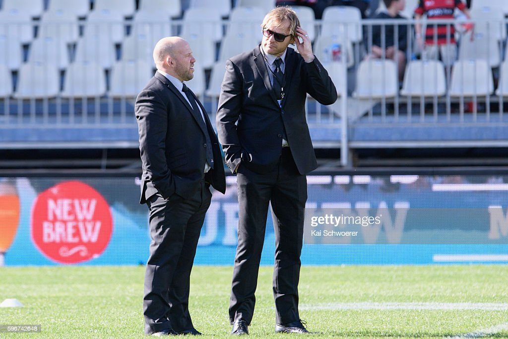 Assistant Coach Jason Ryan of Canterbury and Head Coach Scott Robertson of Canterbury look on prior to the round two Mitre 10 Cup match between...