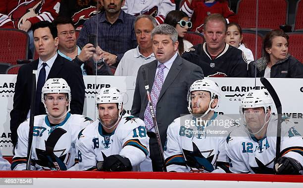Assistant coach Jay Woodcroft and head coach Todd McLellan of the San Jose Sharks on the bench during the NHL game against the Arizona Coyotes at...
