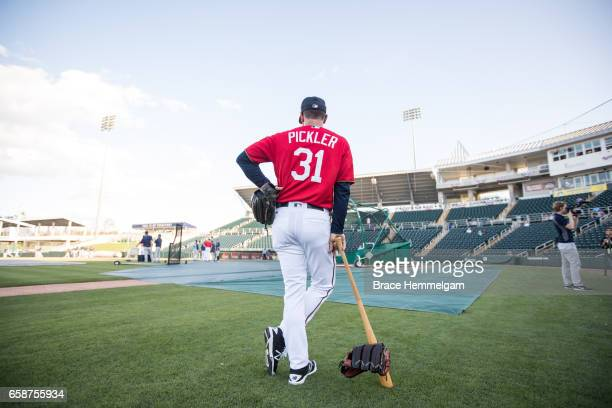 Assistant coach Jeff Pickler of the Minnesota Twins looks on prior to a game against the Tampa Bay Rays on February 24 2017 at the CenturyLink Sports...