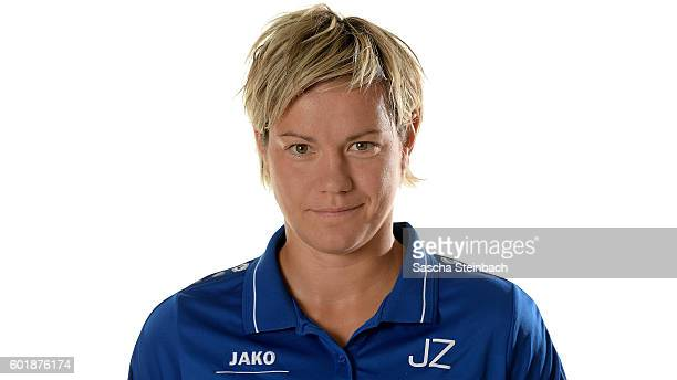Assistant coach Jennifer Zietz of 1 FFC Turbine Potsdam poses during the Allianz Women's Bundesliga Club Tour on September 7 2016 in Potsdam Germany
