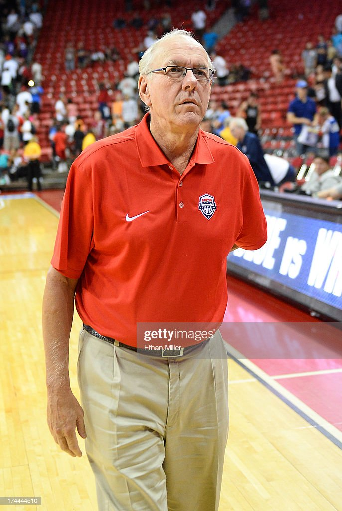 Assistant coach Jim Boeheim of the 2013 USA Basketball Men's National Team walks off the court after a USA Basketball showcase at the Thomas & Mack Center on July 25, 2013 in Las Vegas, Nevada.