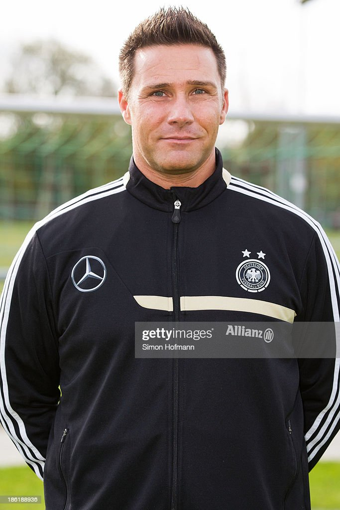 Assistant coach Joerg Vesper of Germany poses during the German Girls U15 national team presentation at Wiener Ring training ground on October 29, 2013 in Offenbach, Germany.