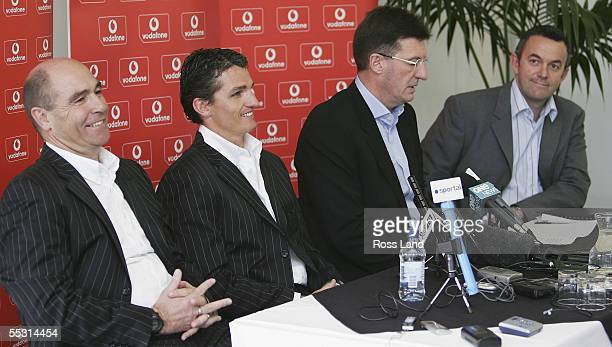 Assistant coach John Ackland former NRL player Ivan Cleary Cullen Sports chairman Maurice Kidd and Warriors CEO Wayne Scurrah attend a press...