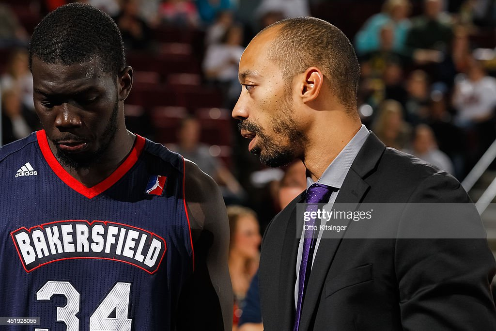 Assistant Coach John Bryant of the Bakersfield Jam talks with <a gi-track='captionPersonalityLinkClicked' href=/galleries/search?phrase=Mac+Koshwal&family=editorial&specificpeople=4691187 ng-click='$event.stopPropagation()'>Mac Koshwal</a> #34 of the Bakersfield Jam during a time out in an NBA D-League game against the Idaho Stampede on November 22, 2013 at CenturyLink Arena in Boise, Idaho.