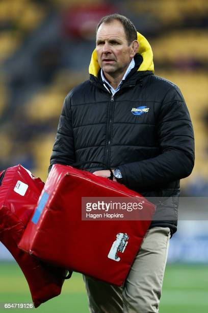 Assistant Coach John Plumtree of the Hurricanes looks on during the round four Super Rugby match between the Hurricanes and the Highlanders at...