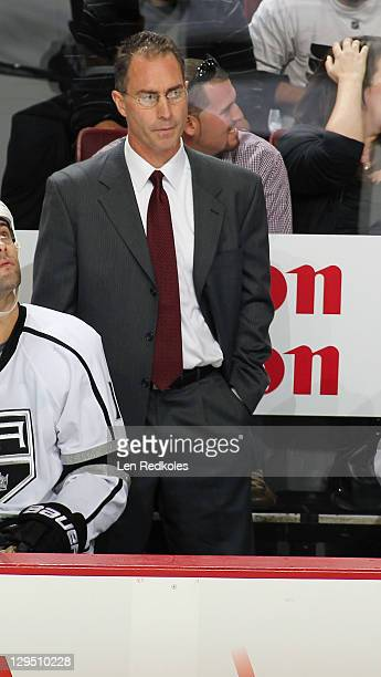 Assistant coach John Stevens of the Los Angeles Kings looks on from the bench against the Philadelphia Flyers on October 15 2011 at the Wells Fargo...