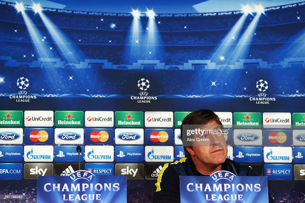 Assistant coach Jordi Roura looks on during a FC Barcelona press conference ahead of their UEFA Champions League Semi Final first leg match against FC Bayern Muenchen on April 22, 2013 in Munich, Germany.