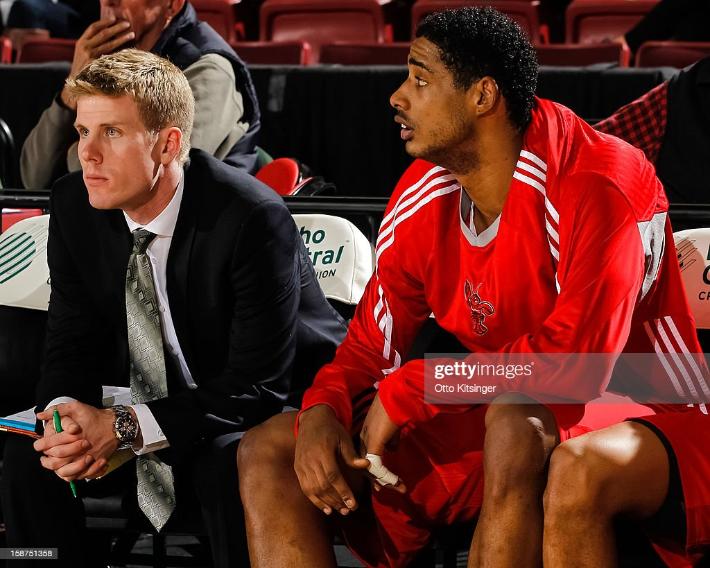 Assistant Coach J.P. Clark and <a gi-track='captionPersonalityLinkClicked' href=/galleries/search?phrase=Fab+Melo&family=editorial&specificpeople=7366439 ng-click='$event.stopPropagation()'>Fab Melo</a> #41 of the Maine Red Claws watch the action in the NBA D-League game against the Idaho Stampede on December 26, 2012 at CenturyLink Arena in Boise, Idaho. Melo was on assignment from the Boston Celtics.
