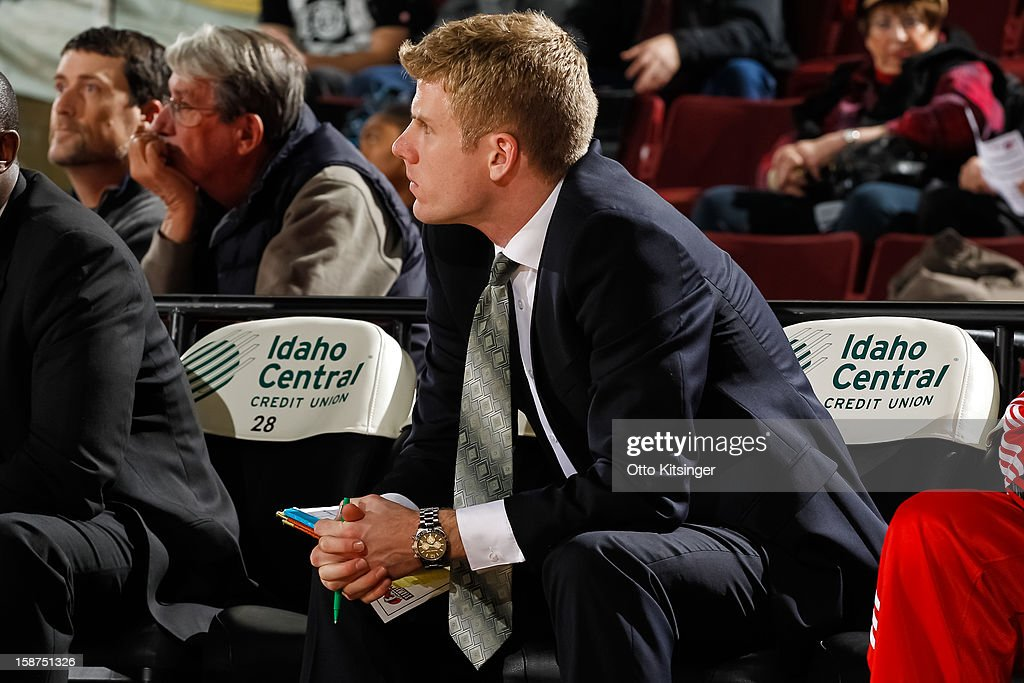 Assistant Coach J.P. Clark of the Maine Red Claws watches the action during the NBA D-League game against the Idaho Stampede on December 26, 2012 at CenturyLink Arena in Boise, Idaho.