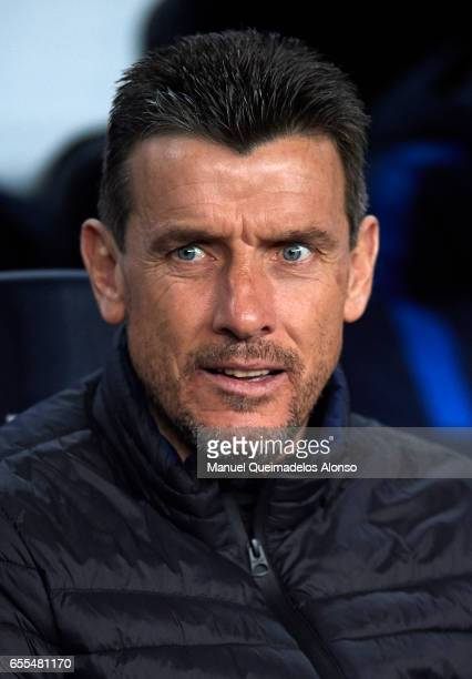 Assistant Coach Juan Carlos Unzue of FC Barcelona looks on prior to the La Liga match between FC Barcelona and Valencia CF at Camp Nou Stadium on...