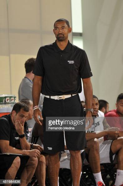 Assistant coach Juwan Howard of the Miami Heat coaches against the Miami Heat during the Samsung NBA Summer League 2014 on July 10 2014 at Amway...