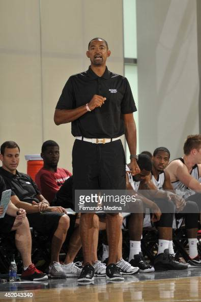 Assistant coach Juwan Howard of the Miami Heat coaches against the Oklahoma City Thunder during the game during the Samsung NBA Summer League 2014 on...
