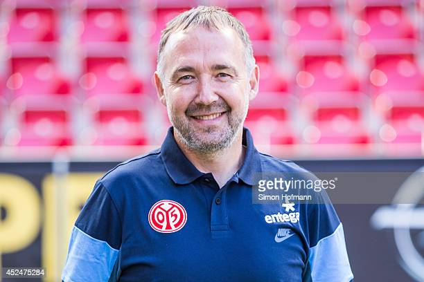 Assistant coach Keld Bordinggaard poses during the 1 FSV Mainz Team Presentation at Coface Arena on July 18 2014 in Mainz Germany