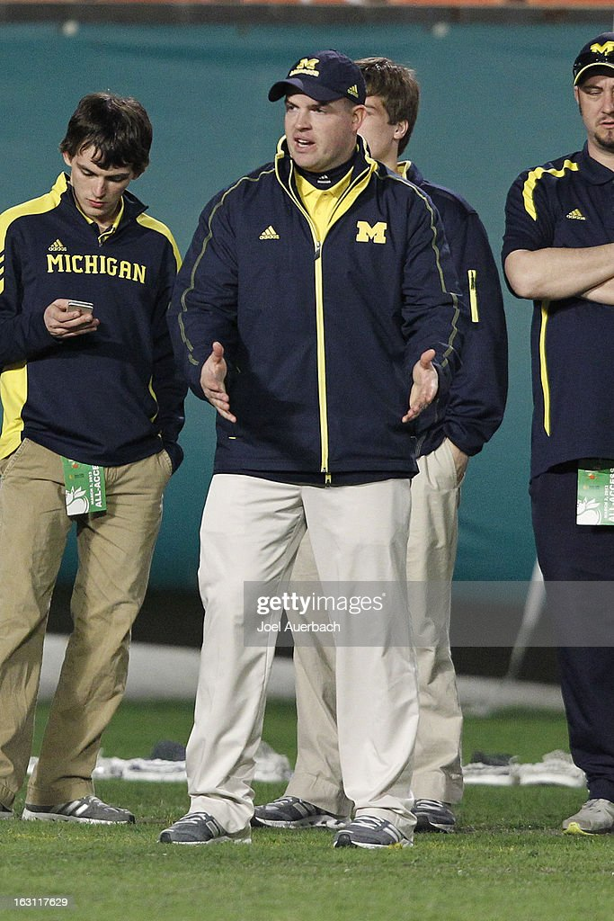 Assistant coach Ken Broschart of the Michigan Wolverines reacts to first quarter action against the Army Black Knights during the 2013 Orange Bowl Lacrosse Classic on March 2, 2013 at SunLife Stadium in Miami Gardens, Florida. Army defeated Michigan 12-1.