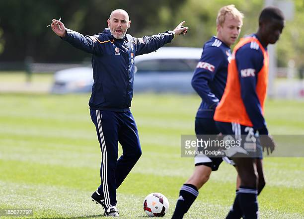 Assistant coach Kevin Muscat gestures during a Melbourne Victory ALeague training session at Gosch's Paddock on October 24 2013 coach in Melbourne...