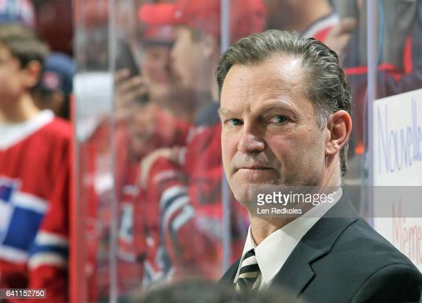 Assistant coach Kirk Muller of the Montreal Canadiens watches warmups from the bench against the Philadelphia Flyers on February 2 2017 at the Wells...
