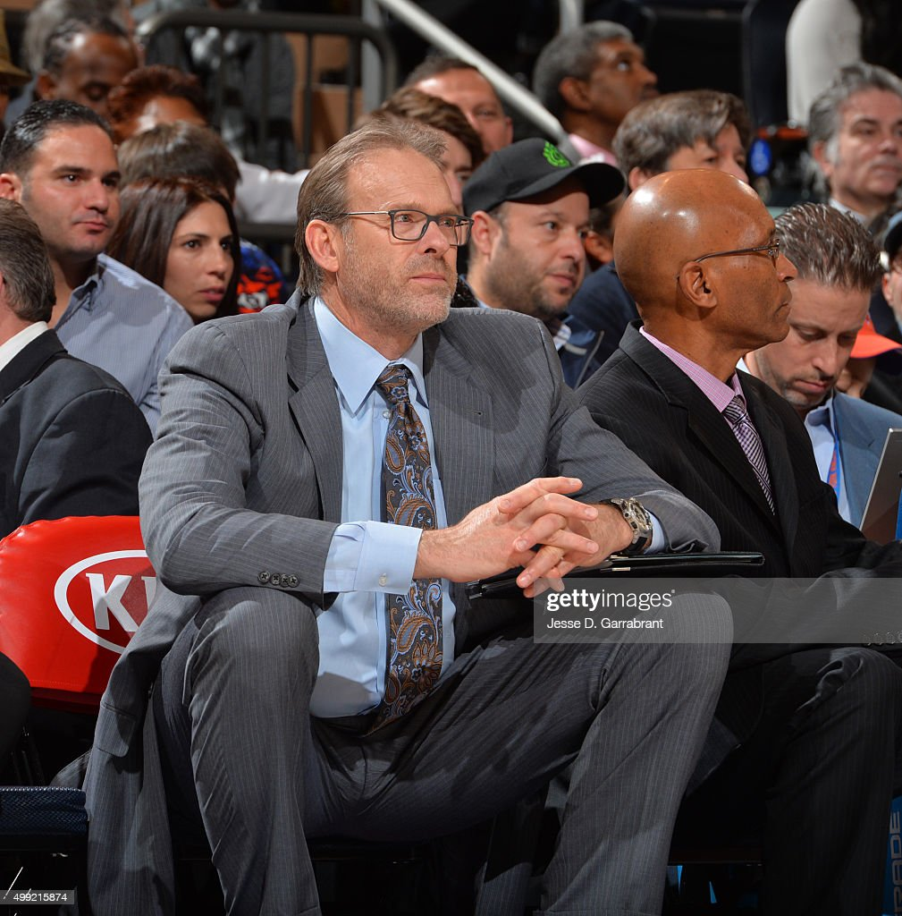 Assistant Coach Kurt Rambis of the New York Knicks looks on against the Houston Rockets at Madison Square Garden on November 29 2015 in New YorkNew...