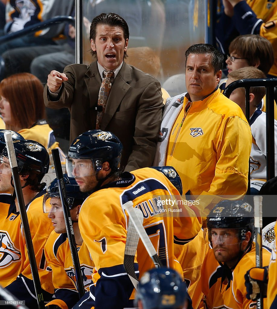 Assistant coach Lane Lambert of the Nashville Predators coaches during a penalty kill against of the New York Islanders at Bridgestone Arena on October 12, 2013 in Nashville, Tennessee.