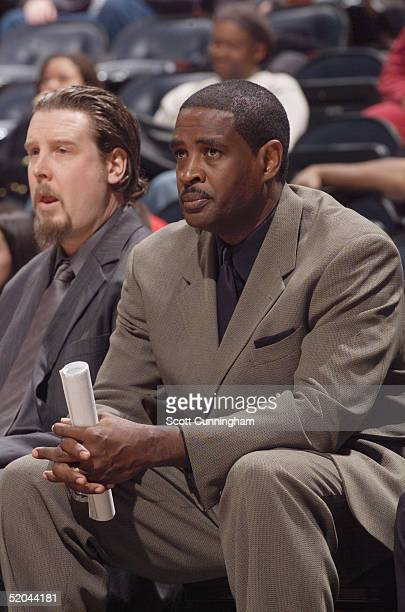 Assistant coach Larry Drew of the Atlanta Hawks watches the game against the Cleveland Cavaliers at Philips Arena on December 28 2004 in Atlanta...