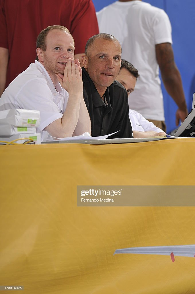 Assistant Coach Lawrence Frank and Head Coach Jason Kidd look on during the game against the Houston Rockets during the 2013 Southwest Airlines...