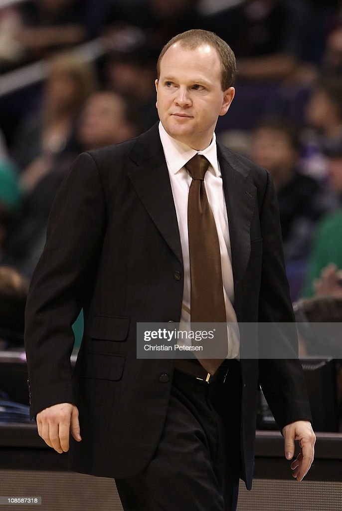 Assistant coach Lawrence Frank of the Boston Celtics coaches after Doc Rivers was ejected from the NBA game against the Phoenix Suns at US Airways...
