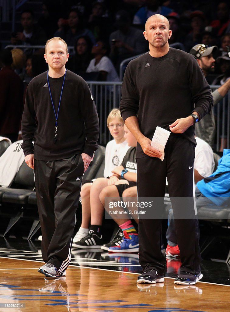 Assistant Coach Lawrence Frank of the Brooklyn Nets with Head Coach Jason Kidd of the Brooklyn Nets during an Open Practice at the Barclays Center on...