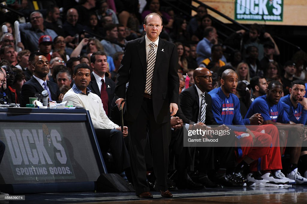 Assistant coach <a gi-track='captionPersonalityLinkClicked' href=/galleries/search?phrase=Lawrence+Frank&family=editorial&specificpeople=208918 ng-click='$event.stopPropagation()'>Lawrence Frank</a> of the Los Angeles Clippers stands on the court during a game against the Denver Nuggets on April 4, 2015 at the Pepsi Center in Denver, Colorado.