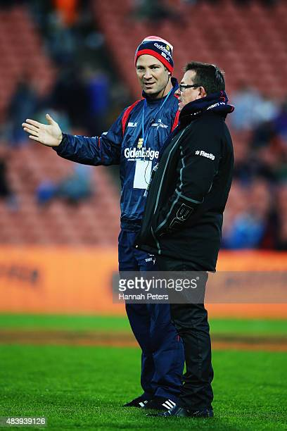 Assistant coach Leon MacDonald of Tasman talks with head coach Kieran Keane of Tasman ahead of the round one ITM Cup match between Waikato and Tasman...