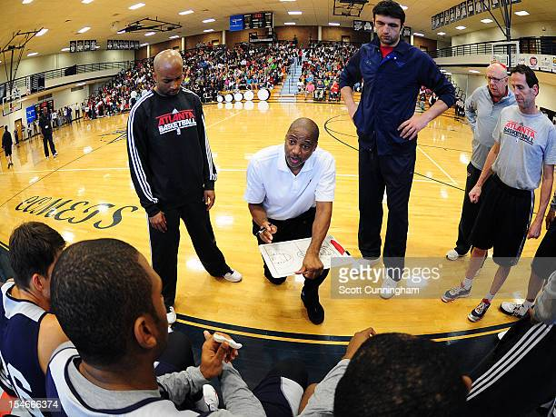 Assistant Coach Lester Conner of the Atlanta Hawks gives instructions during a team practice at South Gwinnett High School on October 23 2012 in...