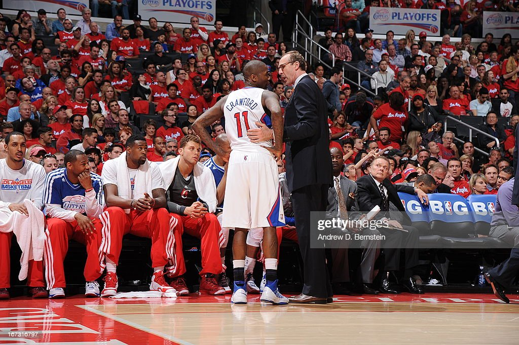 Assistant coach Marc Iavaroni of the Los Angeles Clippers speaks with <a gi-track='captionPersonalityLinkClicked' href=/galleries/search?phrase=Jamal+Crawford&family=editorial&specificpeople=201851 ng-click='$event.stopPropagation()'>Jamal Crawford</a> #11 during the game against the Memphis Grizzlies at Staples Center in Game Two of the Western Conference Quarterfinals during the 2013 NBA Playoffs on April 22, 2013 in Los Angeles, California.