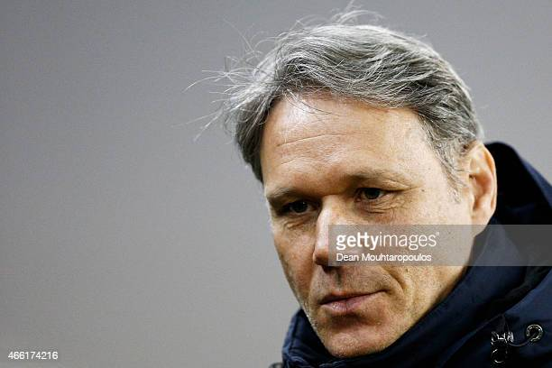 Assistant Coach Marco van Basten looks on prior to the Dutch Eredivisie match between Vitesse Arnhem and AZ Alkmaar held at Gelredome on March 13...