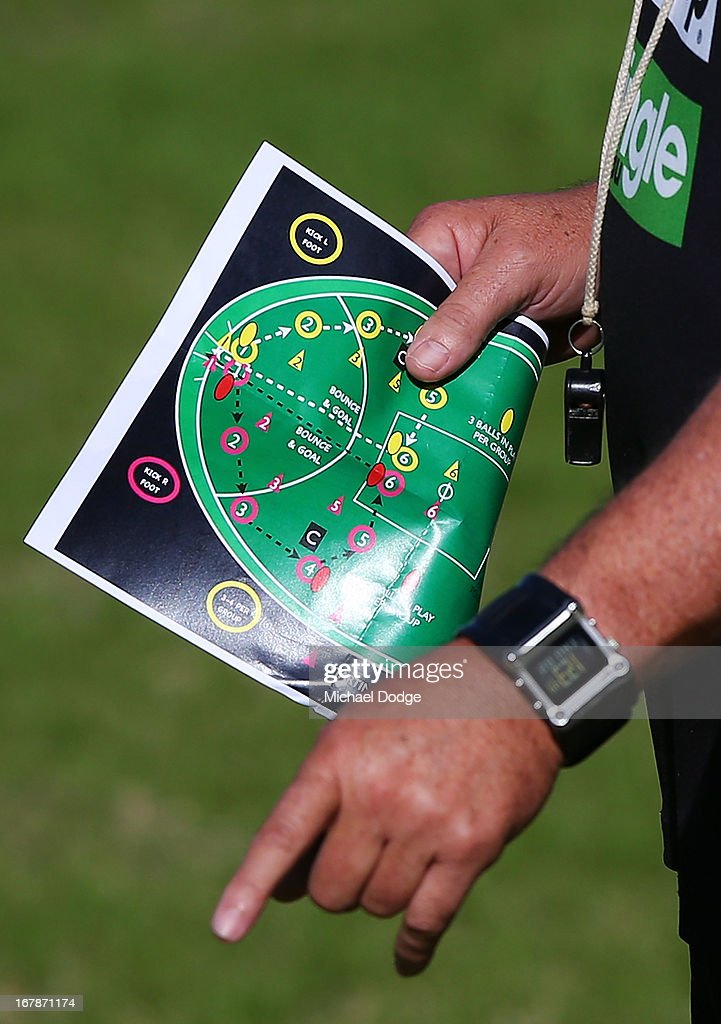 Assistant coach Mark Williams gestures the players while holding a ball drill sheet of paper during a Richmond Tigers AFL training session at ME Bank Centre on May 2, 2013 in Melbourne, Australia.
