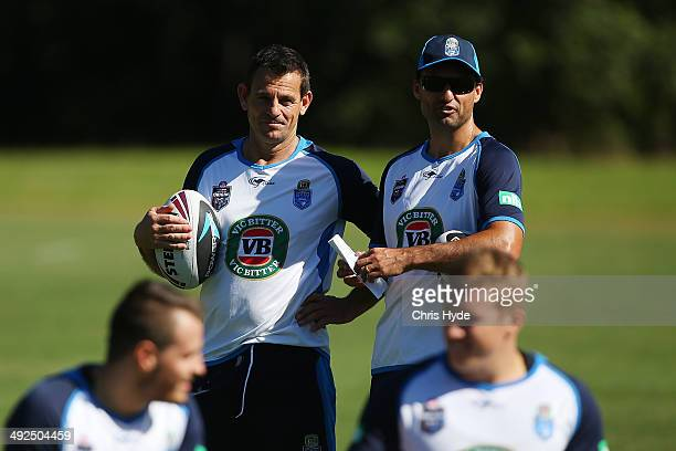 Assistant coach Matt Parish and Coach Laurie Daley talk during a New South Wales Blues State of Origin training session at Novotel Coffs Harbour on...