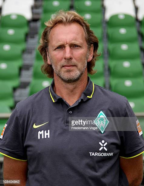Assistant coach Matthias Hoenerbach poses during the team presentation at the Weser stadium on August 16 2010 in Bremen Germany