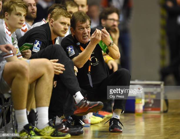 Assistant coach Maximilian Rinderle and coach Velimir Petkovic of Fuechse Berlin during the game between Fuechse Berlin and Rokometno Drustvo Ribnica...