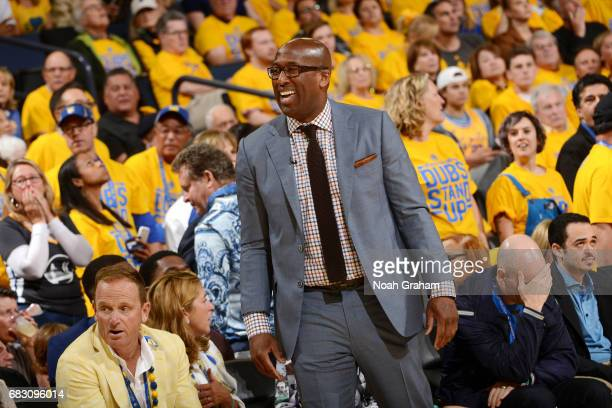 Assistant coach Mike Brown of the Golden State Warriors looks on during the game against the San Antonio Spurs during Game One of the Western...
