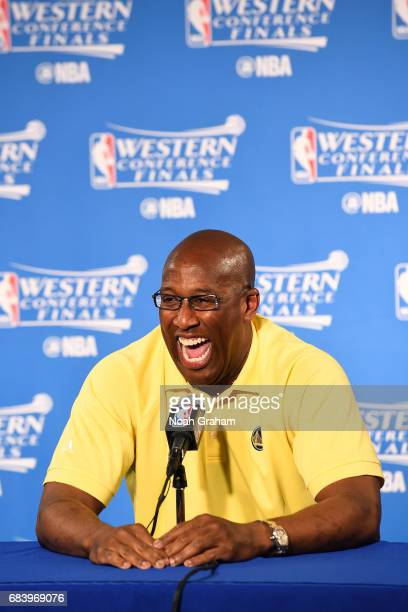Assistant coach Mike Brown of the Golden State Warriors talks with the media before the game against the San Antonio Spurs during Game Two of the...