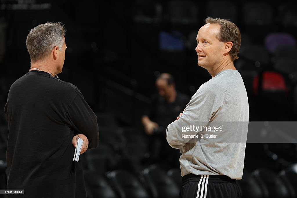 Assistant Coach Mike Budenholzer of the San Antonio Spurs during practice as part of the 2013 NBA Finals on June 15, 2013 at AT&T Center in San Antonio, Texas.