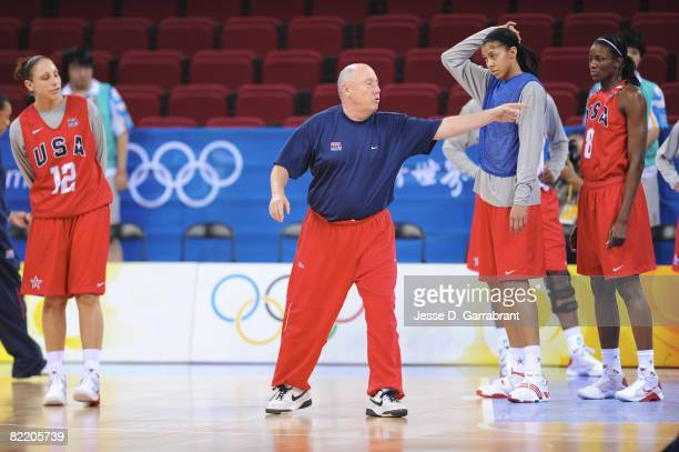 Assistant Coach Mike Thibault of the US Women's Senior National Team directs practice prior to the 2008 Beijing Summer Olympics on August 7 2008 at...