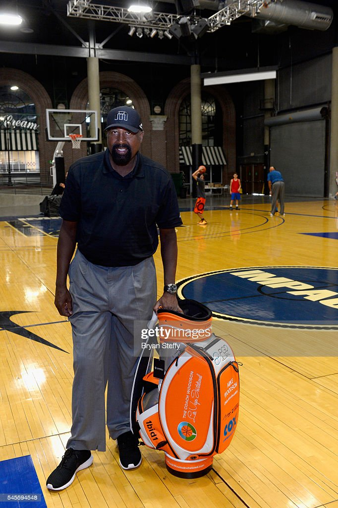 Assistant Coach Mike Woodson of the Los Angeles Clippers is presented a golf bag as he conducts the Woodson Basketball Youth Experience, an official event during the Coach Woodson Las Vegas Invitational at Impact Basketball Las Vegas on July 8, 2016 in Las Vegas, Nevada.