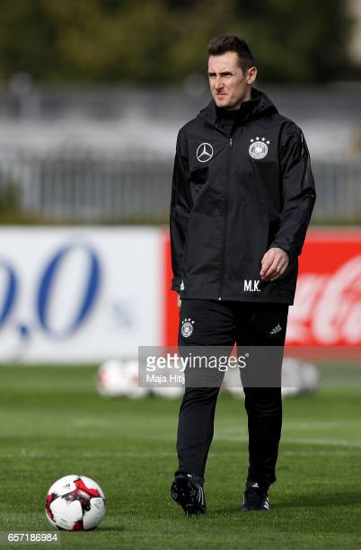 Assistant coach Miroslav Klose is seen during a Germany training session on March 24 2017 in Kamen Germany