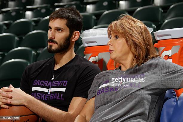 Assistant Coach Nancy Lieberman of the Sacramento Kings talks with Omri Casspi of the Sacramento Kings before the game against the Indiana Pacers on...