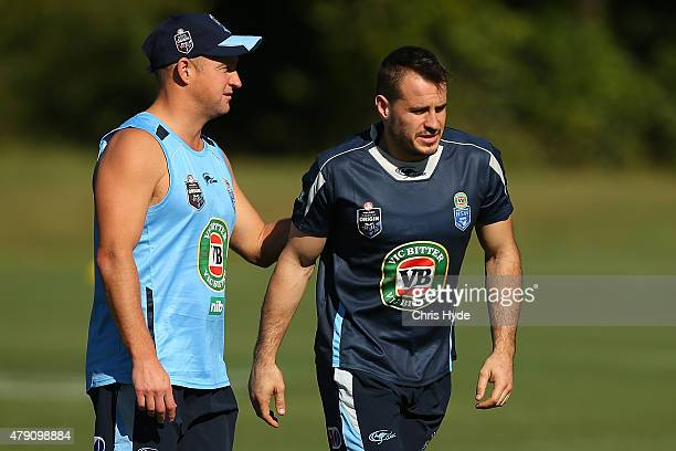 Assistant coach Nathan Brown and Josh Reynolds talk during a New South Wales State of Origin at Novotel Coffs Harbour on July 1 2015 in Coffs Harbour...