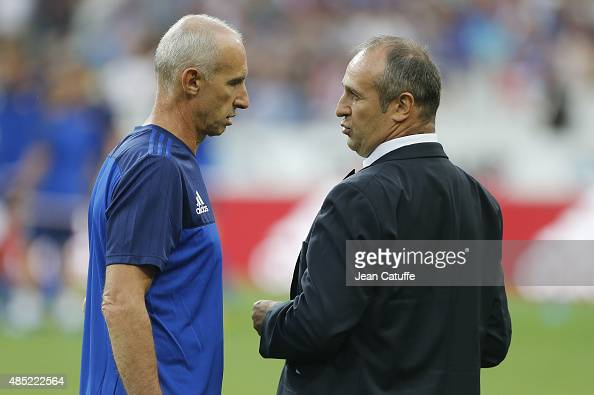 Assistant coach of France Patrice Lagisquet talks to head coach of France Philippe SaintAndre before the international friendly match in preparation...