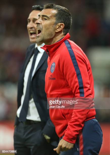 Assistant coach of PSG Juan Carlos Carcedo coach of PSG Unai Emery during the French Ligue 1 match between En Avant Guingamp and Paris Saint Germain...
