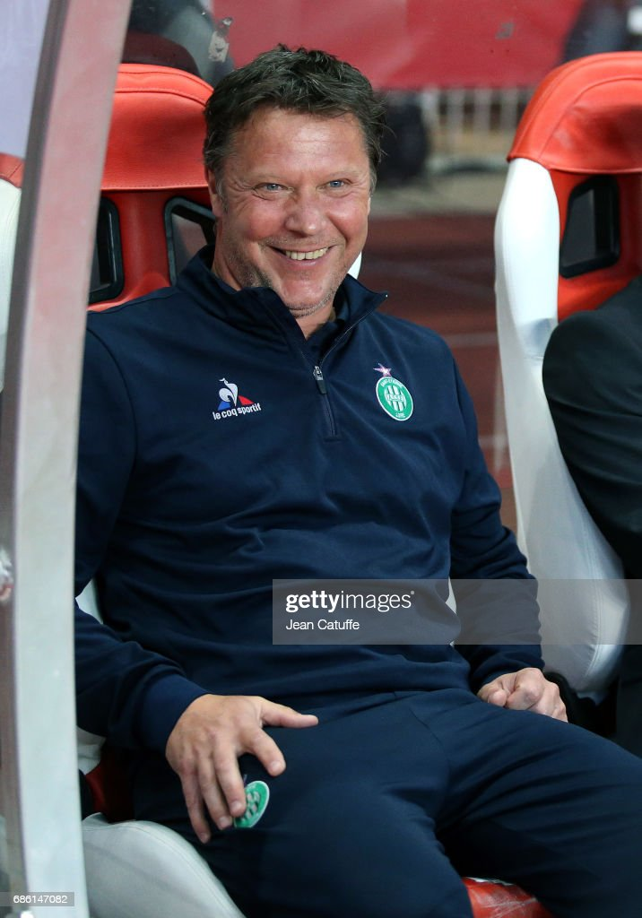 Assistant coach of Saint-Etienne Thierry Oleksiak during the French Ligue 1 match between AS Monaco and AS Saint-Etienne (ASSE) at Stade Louis II on May 17, 2017 in Monaco, Monaco.