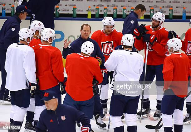 Assistant Coach of Team USA Phil Housley gives instructions to the team at practice during the World Cup of Hockey 2016 at Air Canada Centre on...