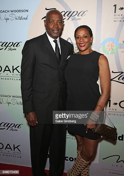 Assistant coach of the Cleveland Cavaliers Larry Drew and his wife Sharon Drew attend the Coach Woodson Las Vegas Invitational red carpet and...