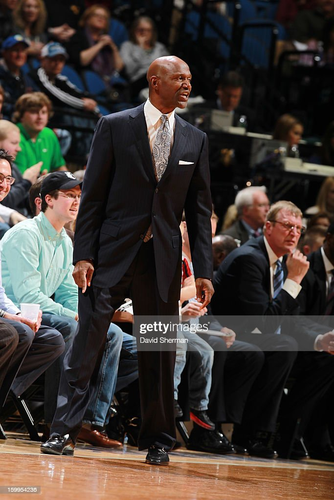 Assistant Coach of the Minnesota Timberwolves Terry Porter looks on during the game between the Minnesota Timberwolves and the Brooklyn Nets on January 23, 2013 at Target Center in Minneapolis, Minnesota.