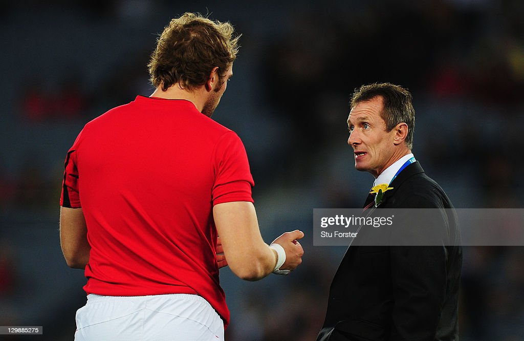 Assistant coach of Wales Rob Howley (R) speaks with Alun Wyn Jones of Wales ahead of the 2011 IRB Rugby World Cup bronze final match between Wales and Australia at Eden Park on October 21, 2011 in Auckland, New Zealand.